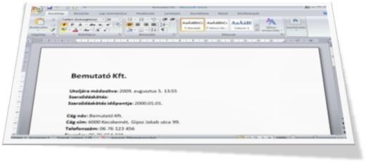 A kiválaszott cég adatai exportálásra kerültek a Word 2007-be